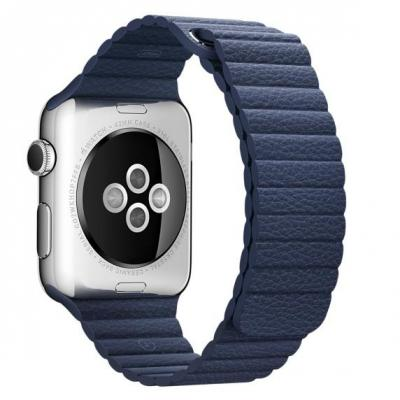 Apple horloge-band: 42mm Midnight Blue Leather Loop, Large (180–210mm) - Blauw