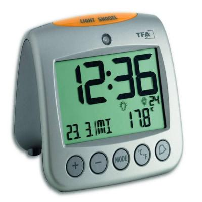 Tfa mantel/tafel klok: Radio controlled alarm clock with thermometer - Zilver