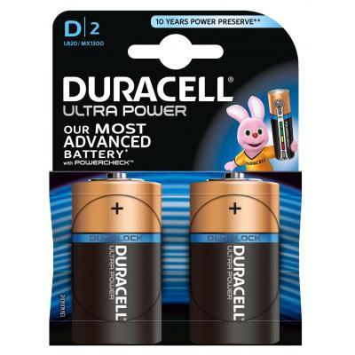 Duracell batterij: Ultra Power alkaline D-batterijen, verpakking van 2 - Zwart, Goud