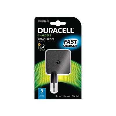 Duracell 2.4A USB Phone/Tablet Charger Oplader - Zwart
