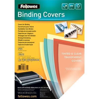 Fellowes binding cover: Transparante PVC dekbladen - 200 micron, A4, blauw - Blauw, Transparant