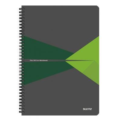 Leitz schrijfblok: Office A4 ruled, PP, 90 p, 225 x 13 x 297 mm, 620 g - Groen, Grijs