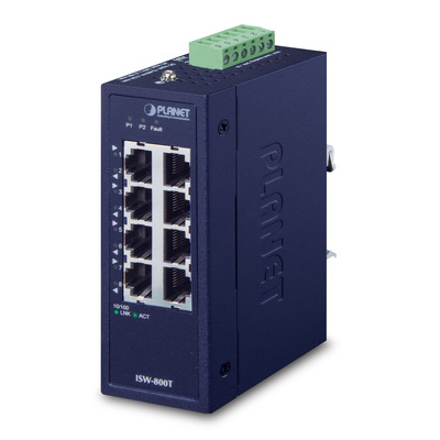 PLANET Industrial 8-Port 10/100TX Compact Ethernet Switch - Blauw