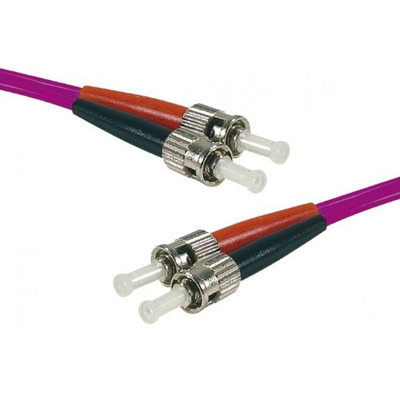 Connect ST-UPC/ST-UPC duplex multimode OM4 50/125 Fiber patch cable erika, 1 m Fiber optic kabel - Fuchsia