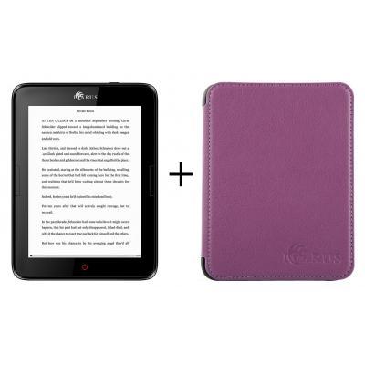 Icarus e-book reader: Illumina E654 bundel lila hoes - Zwart