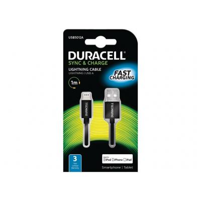 Duracell kabel: 1 m Sync/Charge Lightning - Zwart