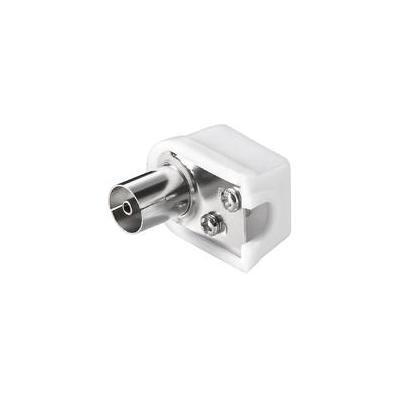 Microconnect Coax Angle Plug with Screw Kabel connector - Roestvrijstaal, Wit