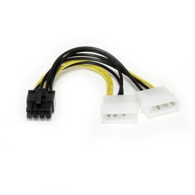 Startech.com kabel adapter: 15cm LP4 naar 8-pins PCI Express Videokaart Voeding Verloopkabel - Zwart, Geel