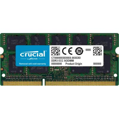 Crucial 8GB (1x8GB), DDR3 1600MHz, Non-ECC, 204-pin SO-DIMM, Unbuffered RAM-geheugen