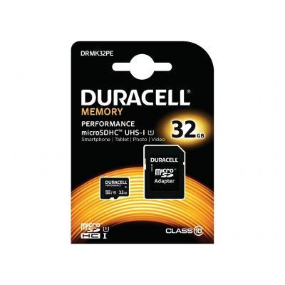 Duracell 32GB microSDHC Class 10 Kit RAM-geheugen - Zwart