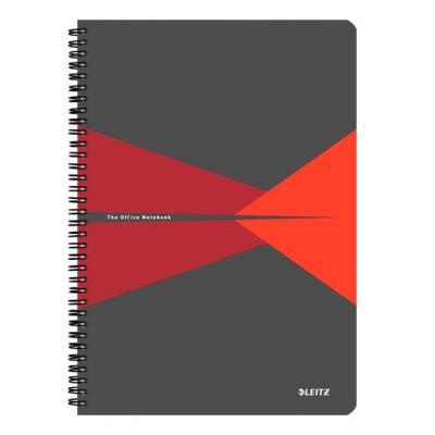 Leitz schrijfblok: Office A4 ruled, PP, 90 p, 225 x 13 x 297 mm, 620 g - Grijs, Rood