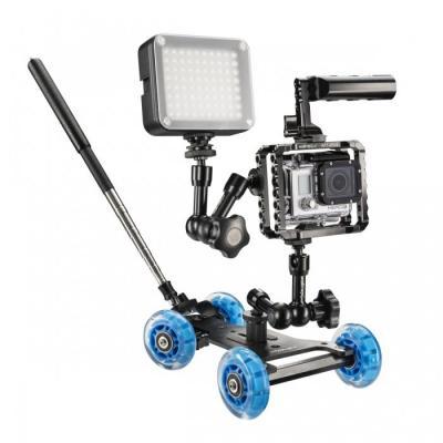 Walimex photo studio equipment set: Dolly Action Set GoPro I - Zwart, Blauw, Grijs