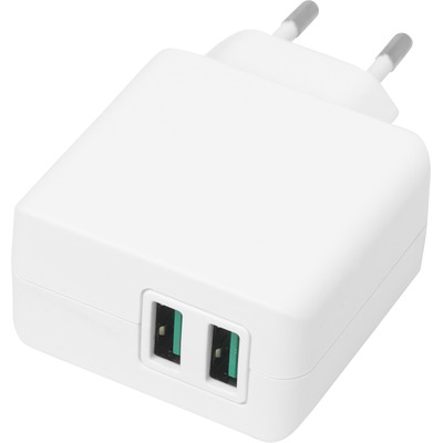 ESTUFF Home Charger 2 USB 4,8A, 24W Oplader - Wit