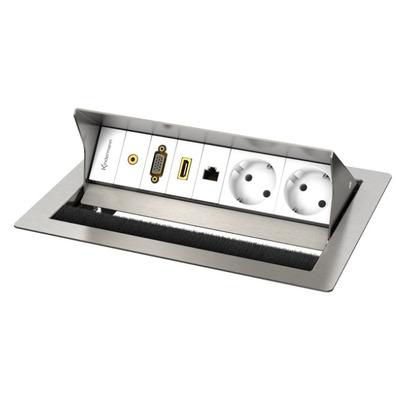 Kindermann CablePort standard² inbouweenheid - Roestvrijstaal, Wit