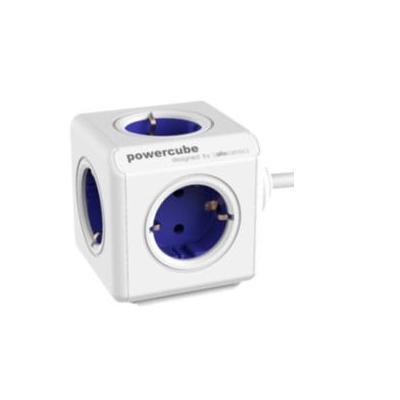 Allocacoc stekkerdoos: PowerCube Extended , Type F, 1.5 m, blue - Blauw, Wit