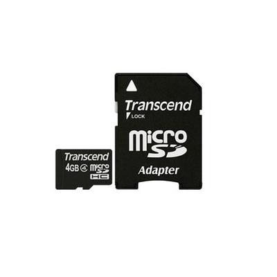 Transcend 4 GB microSDHC Flashgeheugen - Zwart