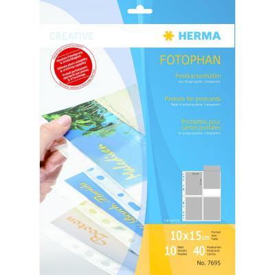 Herma hoes: Pockets for postcards, transparent film 10 pcs. - Transparant