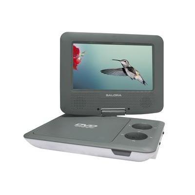 """Salora portable DVD player: Een 7"""" (18CM) portable DVD speler met USB en SD en automontageset - Grijs, Wit"""