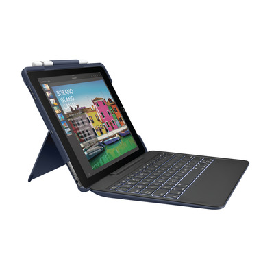 Logitech mobile device keyboard: SLIM COMBO - Blauw, QWERTY