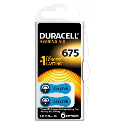 Duracell Hearing Aid-batterijen maat 675, verpakking van 6 batterij