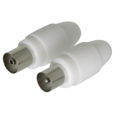 Valueline Coax connector coax male + coax female 2 st wit Coaxconnector