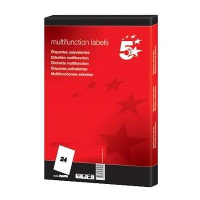 5star etiket: Witte etiketten ft 64,6 x 33,8 mm (b x h), 24 blad, rechte hoeken
