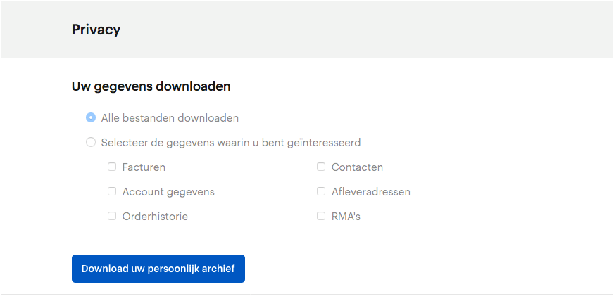 Accountgegevens downloaden