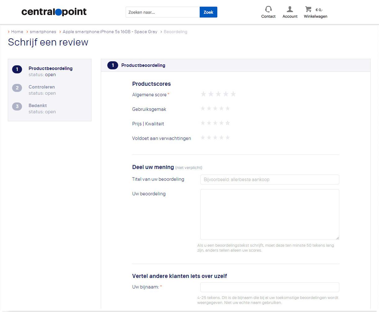 Screenshot reviewpagina