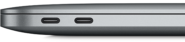 USB-C aansluitingen op een laptop