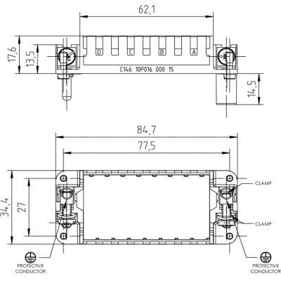 Amphenol C14610P01600015 multipolaire connector-behuizing