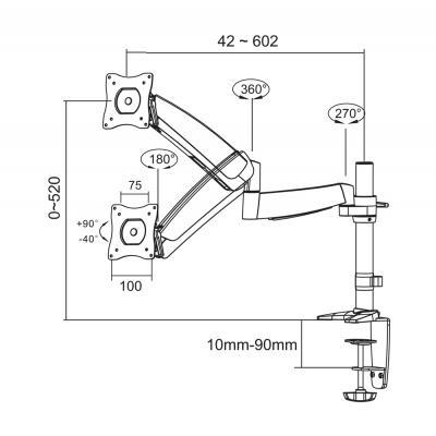 Newstar FPMA-D950BLACK-STCK1 monitorarm