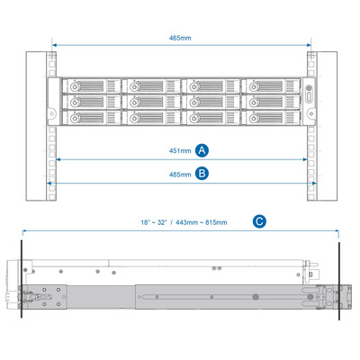 QNAP RAIL-B02 Rack-toebehoren