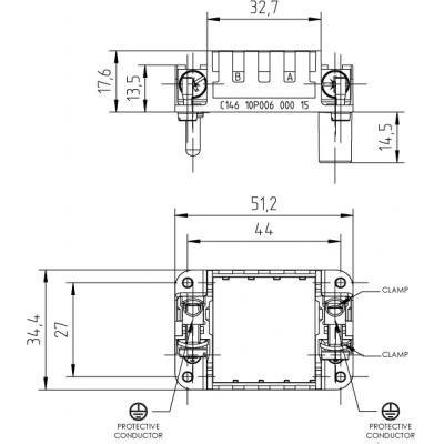 Amphenol C14610P00600015 multipolaire connector-behuizing