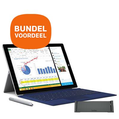 Bundelvoordeel: Microsoft Surface Pro 3 128GB + Type Cover + docking station