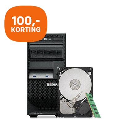 100,- bundelkorting op Lenovo TS140 + 4GB geheugen + 500GB HDD