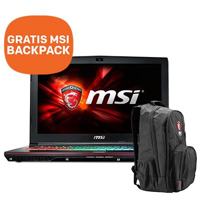 MSI GE62 6QD notebook + Gratis MSI backpack